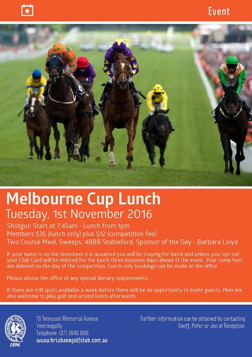 Brisbane Golf Club - Melbourne Cup Poster